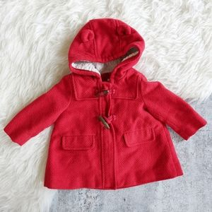 Baby Gap red hooded peacoat toggle jacket 6-12m